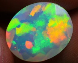 3.80 CRT VERY STUNNING FLORAL PATTERN MULTICOLOR BRIGHT FACETED WELO OPAL-