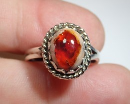 8.5sz  Cherry Opal Sterling Ring