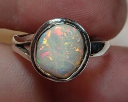 6.5sz  White Fiery Welo Opal Sterling