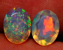 8X6MM  TOP QUALITY !!  WELO ETHIOPIAN FACETED OPAL PAIR-AE724