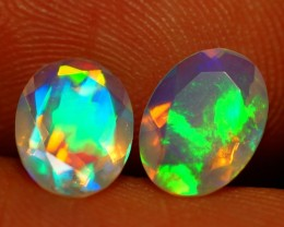 8X6MM  TOP QUALITY !!  WELO ETHIOPIAN FACETED OPAL PAIR-AE726