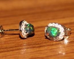 Natural Ethiopian Welo Fire Smoked Black Opal Stud Earrings 290