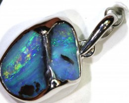 17.50-CTS BOULDER OPAL STERLING SILVER PENDANT OF-2467
