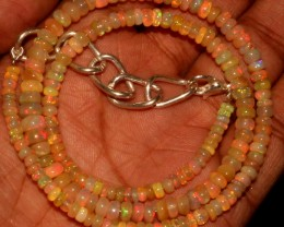 48 Crts Natural Ethiopian Welo Fire Opal Beads Necklace 17