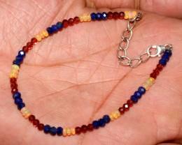 Natural Ethiopian Welo Fire Opal Garnet Lapis Beads Bracelet 36