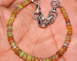 19 Crts Natural Ethiopian Welo Fire Yellow Opal Beads Bracelet 34
