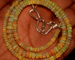 51 Crts Natural Ethiopian Welo Fire Opal Beads Necklace 21