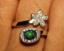 Ethiopian Welo Fire Smoked Black Opal 925 Sterling Silver Ring 35