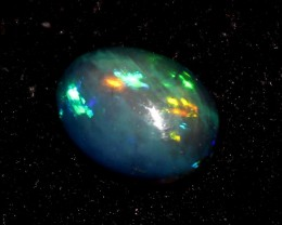 1.35 Crts Natural Ethiopian Welo Fire Smoked Black Opal Cabochon 992