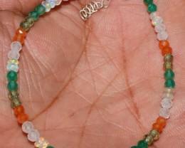 Natural Ethiopian Opal Onyx Carnelian Rainbow & Apatite Bracelet 51