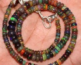 54 Crt Natural Ethiopian Fire Smoked Black Opal Beads Necklace 83