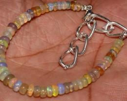 25 Crts Natural Ethiopian Welo Fire Opal Beads Bracelet 52