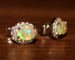 Ethiopian Fire Opal Silver Stud Earring 0293