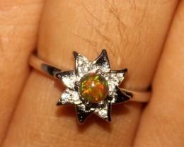 Ethiopian Fire Opal Silver Ring Size US ( 5 ) 0282