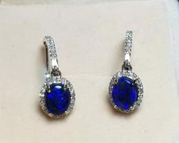 Australian Opal Earrings Black opal 14K Gold