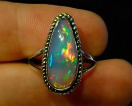 8sz Brilliant Solid Ethiopian Blazing Welo Opal Sterling Ring