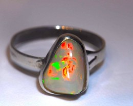 8.5sz Brilliant Solid Ethiopian Blazing Welo Opal Sterling Ring