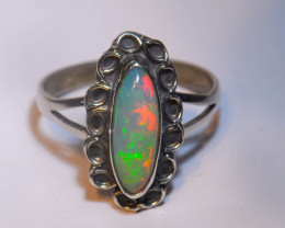 SZ10.5 ETHIOPIAN SOLID CRYSTAL OPAL HIGH QUALITY .925 STERLING FABULOUS RIN