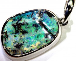 32.80-CTS BOULDER OPAL STERLING SILVER PENDANT OF-2491