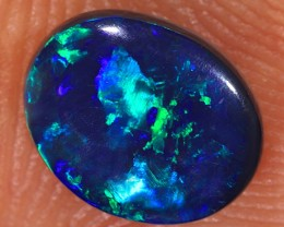 0.75ct 7.7x6.2mm Solid Lightning Ridge Black Opal [LO-1244]