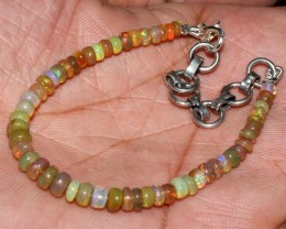 19 Crts Natural Ethiopian Welo Fire Opal Beads Bracelet 40