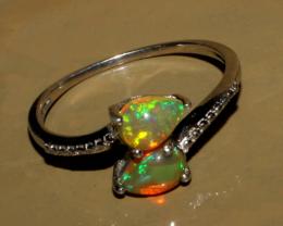 Ethiopian Fire Opal Silver Ring Size US ( 10 )