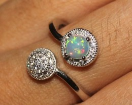 Natural Ethiopian Welo Fire Opal 925 Sterling Silver Ring Size 7 US 37