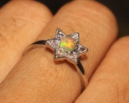 Natural Ethiopian Welo Fire Opal 925 Sterling Silver Ring Size 6 US 39