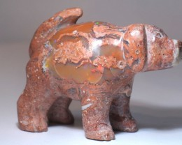 DOGGIE STONE CARVING MEXICAN MATRIX OPAL