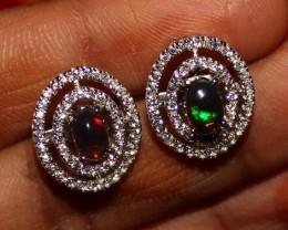 Natural Ethiopian Welo Fire Smoked Black Opal Stud Earrings 260