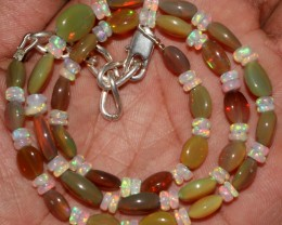 58 Crts Natural Ethiopian Welo Fire Opal Oval Rondelle Beads Necklace 6
