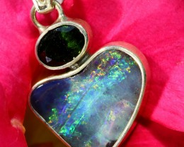 18.50 CTS SILVER  BOULDER OPAL WITH DIOPTASE [SOJ6467]