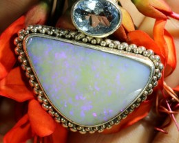 50.45 CTS LIGHTING RIDGE OPAL PENDANT IN SILVER WITH AQUAMARINE[SOJ6478]