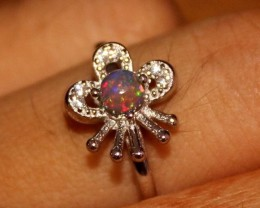 Ethiopian Fire Smoked Opal 925 Sterling Silver Ring Size (6.5) US 279
