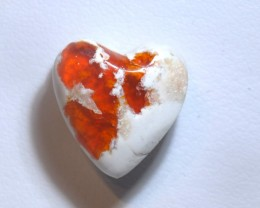 7.5ct Heart  Shaped Mexican Fire Opal Wirewrap Ready