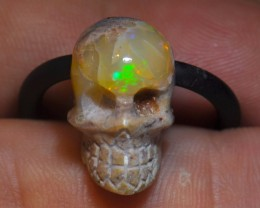 15.09 Skull Carved  Mexican Fire Opal Pendant