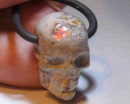 39.72 Skull Carved  Mexican Fire Opal Pendant