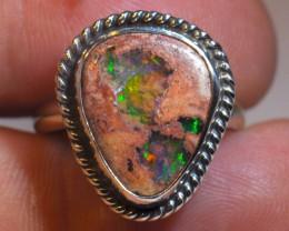 7sz Mexican Matrix Opal Sterling Silver Ring