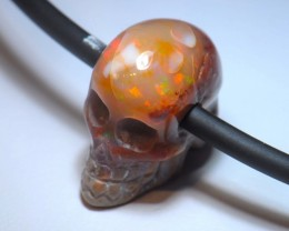 FIRE MATRIX OPAL SKULL BRIGHT CARVED QUALITY CRAFTMANSHIP