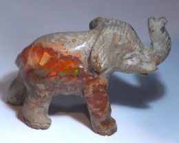 200CT  UNIQUE MEXICAN MATRIX  FIRE OPAL ELEPHANT