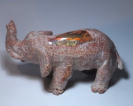70CT  UNIQUE MEXICAN MATRIX  FIRE OPAL elephant
