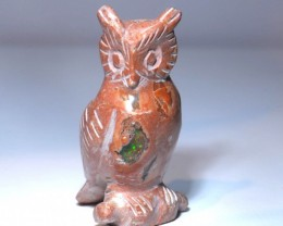 50CT  UNIQUE MEXICAN MATRIX  FIRE OPAL owl