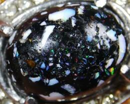 64.35 CT Unique Motiff Indonesian Rainbow Opal Jewelry Ring