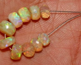 6.95 Crt Natural Ethiopian Welo Fire Faceted Opal Beads Demi Strand 1