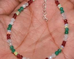 Ethiopian Welo Fire Opal Onyx, Garnet & Rainbow Beads Bracelet 60