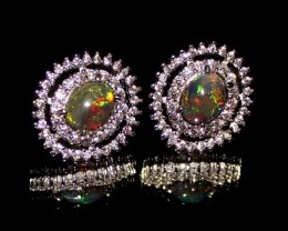Ethiopian Welo Fire Smoked Opal 925 Sterling Silver Stud Earrings 264