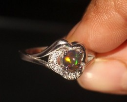 Natural Ethiopian Welo Fire Smoked Opal Ring Size (6 US ) 281