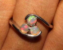 Ethiopian Welo Fire Opal 925 Sterling Silver Ring Size (6.5 US) 283