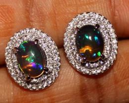 Ethiopian Welo Fire Smoked Opal 925 Sterling Silver Stud Earrings 270