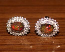Ethiopian Welo Fire Smoked Opal 925 Sterling Silver Stud Earrings 291